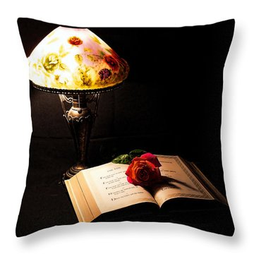 Lamp Bible And Rose Throw Pillow