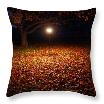 Throw Pillow featuring the photograph Lamp-lit Leaves by Lars Lentz