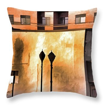Throw Pillow featuring the mixed media Lamp Post Shadow And Bent Sign by Lynda Lehmann