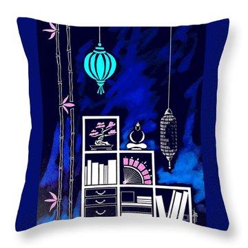 Lamps, Books, Bamboo -- Negative Throw Pillow