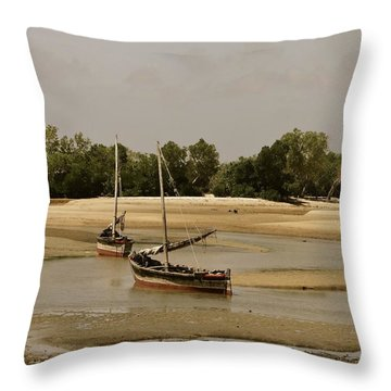 Lamu Island - Wooden Fishing Dhows At Low Tide With Pier - Antique Throw Pillow