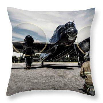 Throw Pillow featuring the photograph Lancaster Engine Test by Brad Allen Fine Art