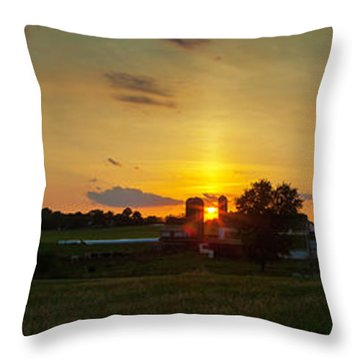 Lancaster Farm Sunset Panorama Throw Pillow