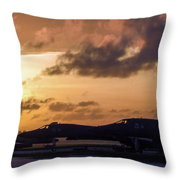 Throw Pillow featuring the photograph Lancer Flightline by Peter Chilelli