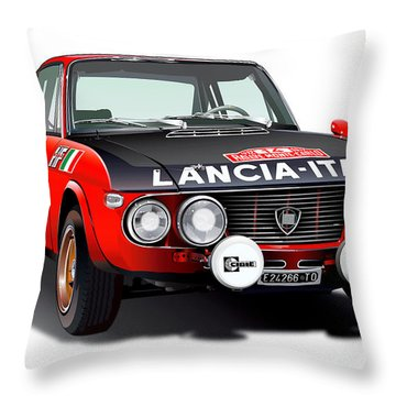 Lancia Fulvia Hf Illustration Throw Pillow