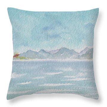 Throw Pillow featuring the painting Land Ahoy Cruising By Cuba by Pat Katz