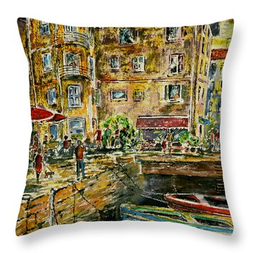 Land And Water And People Therebetween Throw Pillow