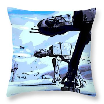 Land Battle Throw Pillow by George Pedro