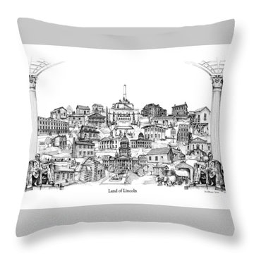 Land Of Lincoln Throw Pillow by Dennis Bivens