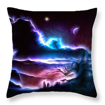 Land Of Nightmares Throw Pillow by Mario Carini