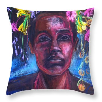Throw Pillow featuring the drawing Land Of Plenty by Gabrielle Wilson-Sealy