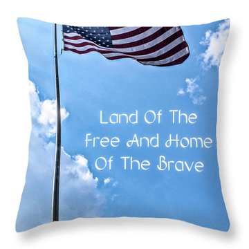 Land Of The Free Throw Pillow by Joann Copeland-Paul