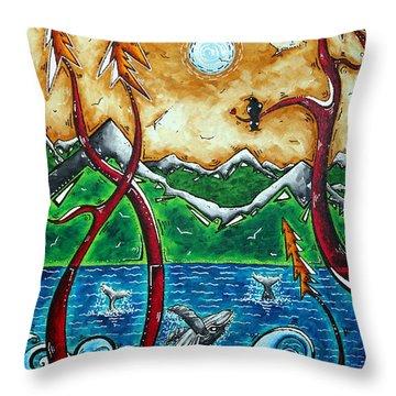Land Of The Free Original Madart Painting Throw Pillow by Megan Duncanson