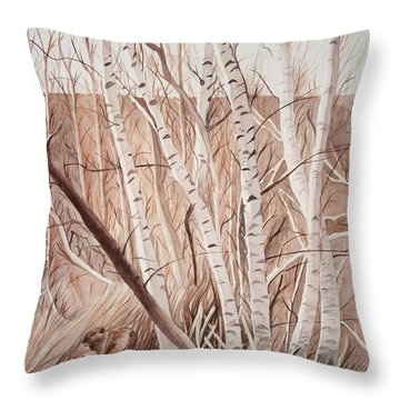 Land Of The Silver Birch Throw Pillow