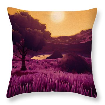 Land Of The Sun - Land Of The Future Throw Pillow by Andrea Mazzocchetti