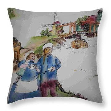 Land Of Windmill Clogs  And Tulips Album Throw Pillow