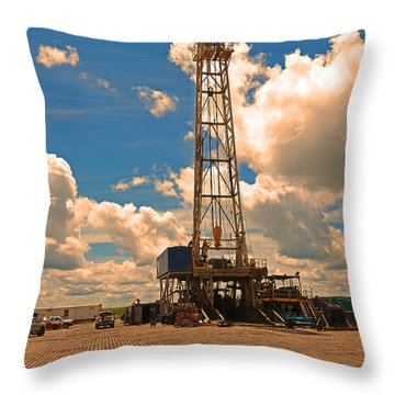 Land Oil Rig Throw Pillow