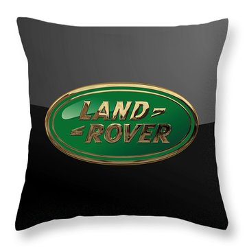 Land Rover - 3d Badge On Black Throw Pillow by Serge Averbukh