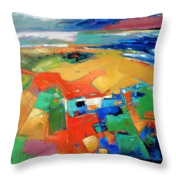 Throw Pillow featuring the painting Landforms, Suggestion Of A Memory by Gary Coleman