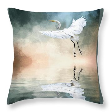 Landing At Dawn Throw Pillow by Cyndy Doty