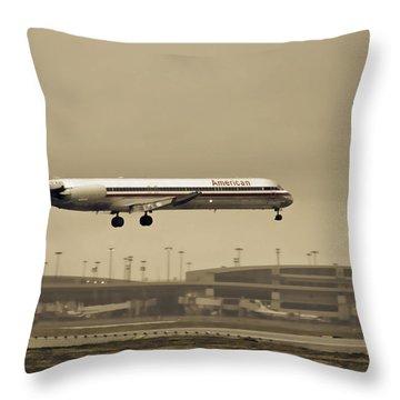 Landing At Dfw Airport Throw Pillow