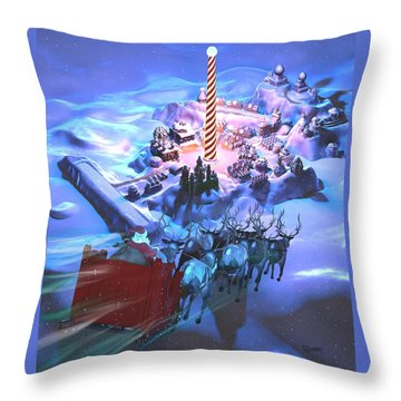 Landing At The North Pole Throw Pillow by Dave Luebbert