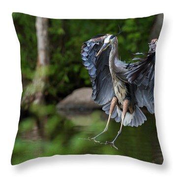 Landing Heron Throw Pillow