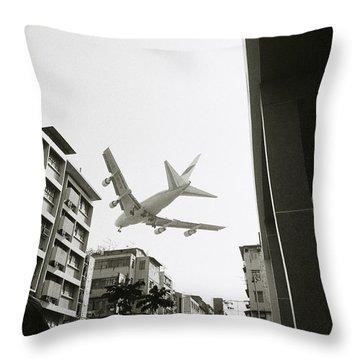 Landing In Hong Kong Throw Pillow