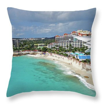 Landing Over Sunset Beach Saint Martin Caribbean Throw Pillow