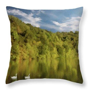 Throw Pillow featuring the photograph Landingville Lake Pennsylvania by David Dehner