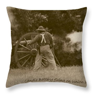 Landis Battery Firing On Union Advance Throw Pillow by David Dunham