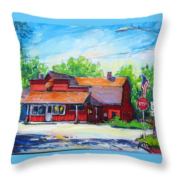 Throw Pillow featuring the painting Landmark Six by Les Leffingwell