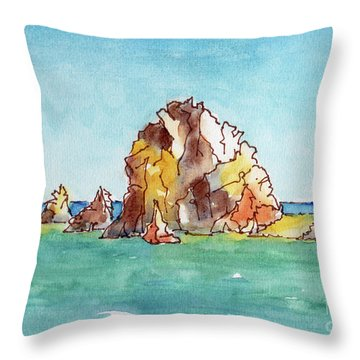 Throw Pillow featuring the painting Lands End Cabo San Lucas Mexico by Pat Katz