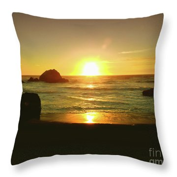 Lands End Sunset-the Golden Hour Throw Pillow