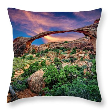 Landscape Arch At Sunset Throw Pillow
