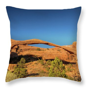 Landscape Arch Sunrise Throw Pillow