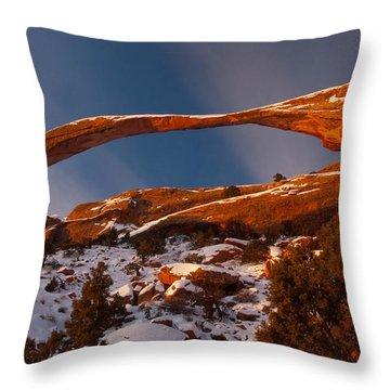 Landscape Arch Sunrise Throw Pillow