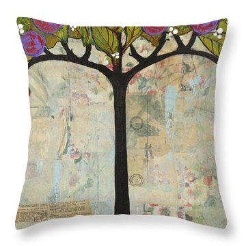Landscape Art Tree Painting Past Visions Throw Pillow by Blenda Studio