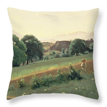 Landscape At Mornex Throw Pillow by Jean Baptiste Corot
