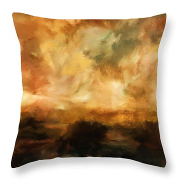 Landscape At Sunset Throw Pillow