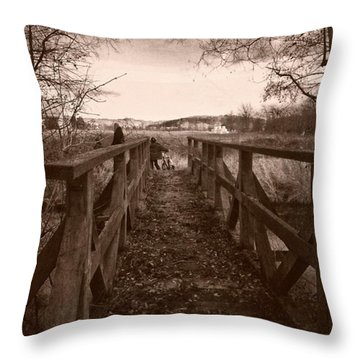 #landscape #bridge #family #tree Throw Pillow by Mandy Tabatt