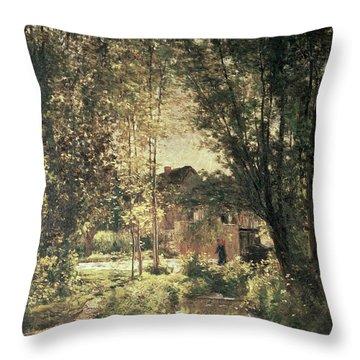 Landscape Throw Pillow by Charles Francois Daubigny