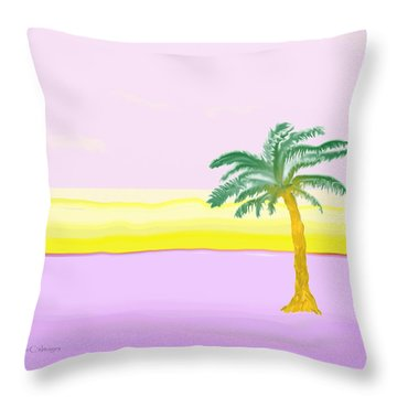 Landscape In Pink And Yellow Throw Pillow