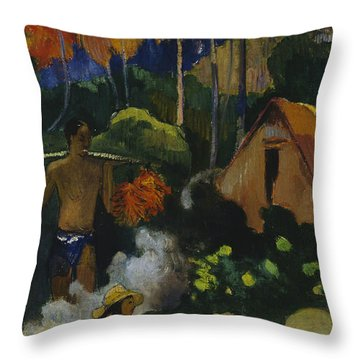 Landscape In Tahiti  Throw Pillow