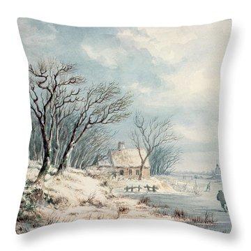 Landscape In Winter Throw Pillow by JJ Verreyt