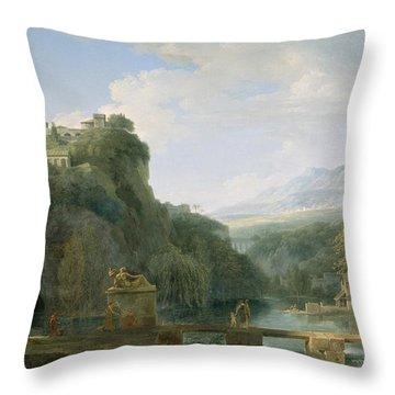 Landscape Of Ancient Greece Throw Pillow by Pierre Henri de Valenciennes