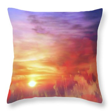 Landscape Of Dreaming Poppies Throw Pillow