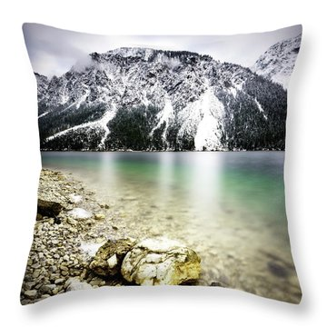 Landscape Of Plansee Lake And Alps Mountains During Winter, Snowy View, Tyrol, Austria. Throw Pillow
