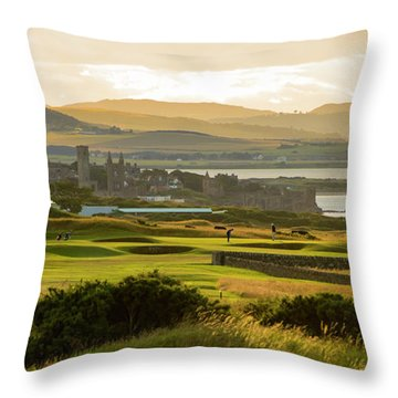 Landscape Of St Andrews Home Of Golf Throw Pillow by MaryJane Armstrong