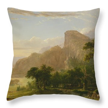 Landscape Scene From Thanatopsis Throw Pillow